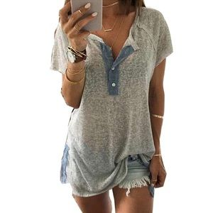Tops - Women's Loose Casual Button Blouse